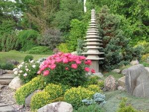 Pagoda and peonies